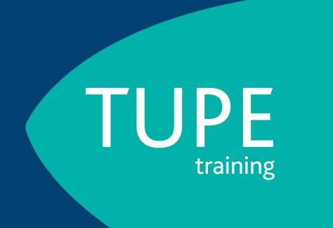 TUPE training written on teal and blue background